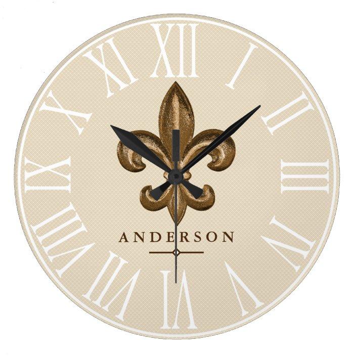 Classy Gold Fleur De Lis Taupe Personalized Large Clock Zazzle Com