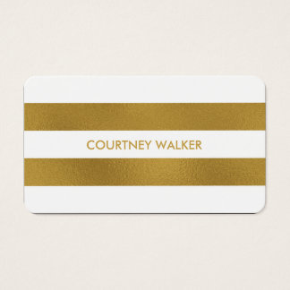 Classy gold foil and white stripe business cards