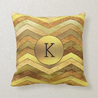 Classy Gold Foil Chevrons Monogram Throw Pillow