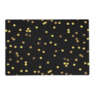 Classy Gold Foil Confetti Black Placemat
