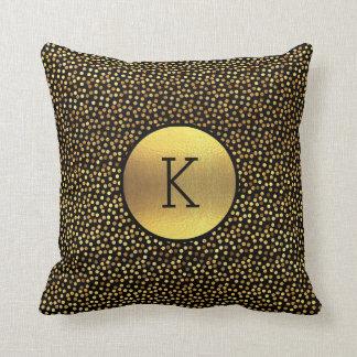Classy Gold Foil Confetti Dots Black Monogram Pillow