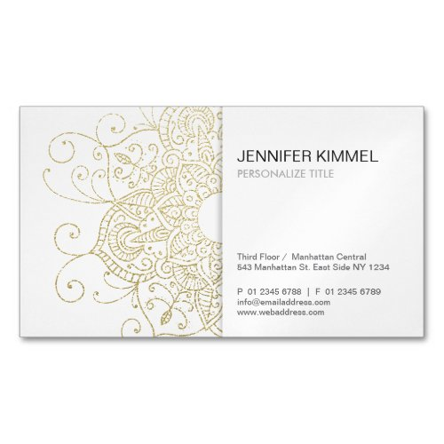 Classy Gold Foil Look Mandala Minimalist Business Card Magnet