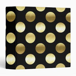 Classy Gold Foil Polka Dots Black Binder