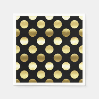 Classy Gold Foil Polka Dots Black Napkin