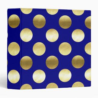 Classy Gold Foil Polka Dots Navy Blue Binder