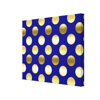 Classy Gold Foil Polka Dots Navy Blue Canvas Print