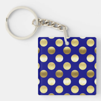 Classy Gold Foil Polka Dots Navy Blue Keychain