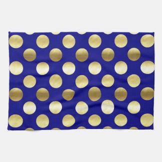 Classy Gold Foil Polka Dots Navy Blue Kitchen Towel
