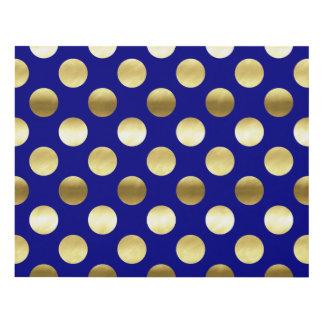 Classy Gold Foil Polka Dots Navy Blue Panel Wall Art