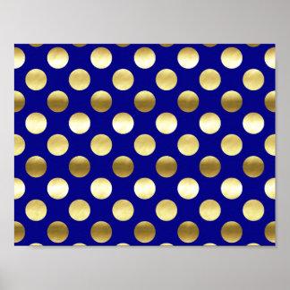 Classy Gold Foil Polka Dots Navy Blue Poster