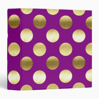 Classy Gold Foil Polka Dots Purple Binder