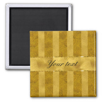 Classy Gold Foil Stripes 2 Inch Square Magnet