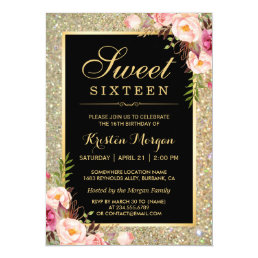 Classy Gold Glitter Floral Sweet 16 Birthday Party Card
