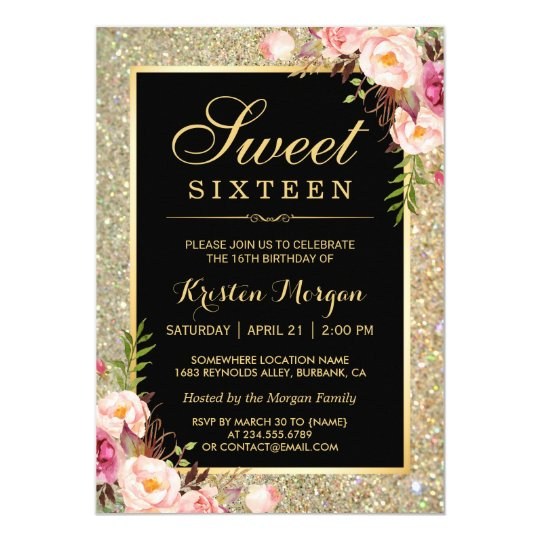 Classy Gold Glitter Floral Sweet 16 Birthday Party Invitation