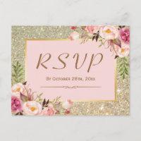 Classy Gold Glitter Pink Floral RSVP Response Invitation Postcard