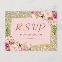 Classy Gold Glitter Pink Floral RSVP Response Invitation Postcard