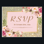 "Classy Gold Glitter Pink Floral RSVP Response Postcard<br><div class=""desc"">================= ABOUT THIS DESIGN ================= Beautiful Gold Glitter Floral RSVP Response Card . (1) For further customization, please click the &quot;Customize&quot; button and use our design tool to modify this template. All text style, colors, sizes can be modified to fit your needs. (2) If you need help or matching items,...</div>"