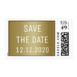 Classy Gold Glitter Save The Date Postage