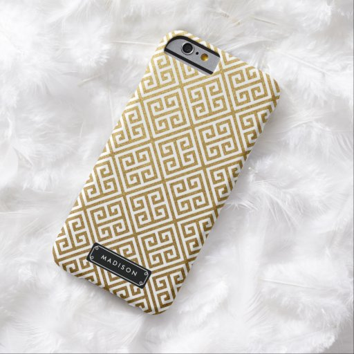 Classy Gold Greek Key Personalized iPhone 6 Case