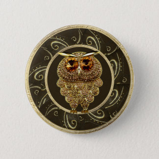Classy Gold Jewels Steampunk Owl Button