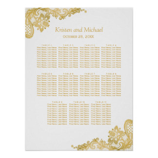 Classy Gold Lace Wedding Seating Chart Poster