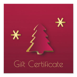 Classy Gold Red Christmas Tree - Gift Certificate Card