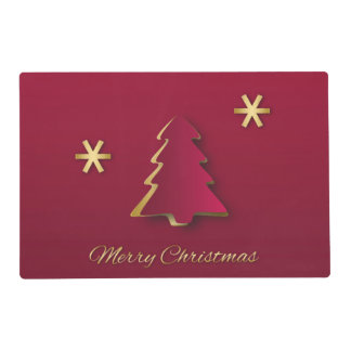 Classy Gold Red Christmas Tree Laminated Placemat