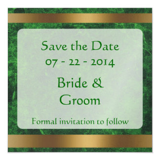 Classy Gold Save the Date Green004 Personalized Invitations