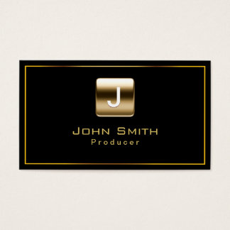 Classy Gold Stamp Producer Dark Business Card