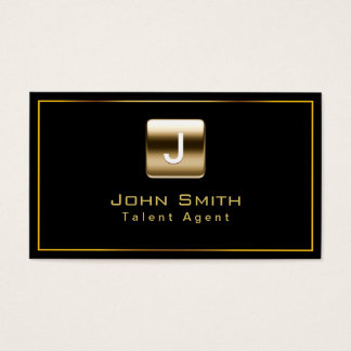 Classy Gold Stamp Talent Agent Dark Business Card