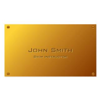 Classy Gold Swim Instructor Business Card
