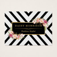 Fashion designer business cards templates zazzle standard sized business cards classy gold vintage floral black white stripes reheart Images