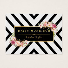 Classy Gold Vintage Floral Black White Stripes Business Card at Zazzle