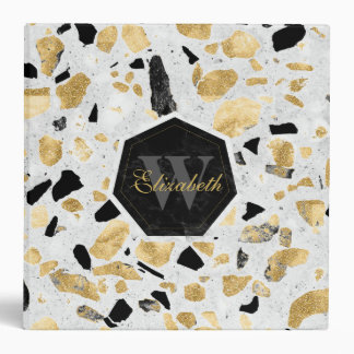 Classy gold vintage marble abstract design 3 ring binder