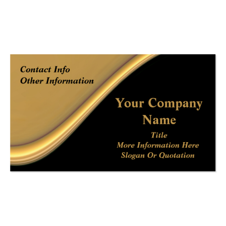 Classy Gold Wave On Black Business Cards