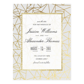 Classy Gold & White Wedding Save The Date Postcard
