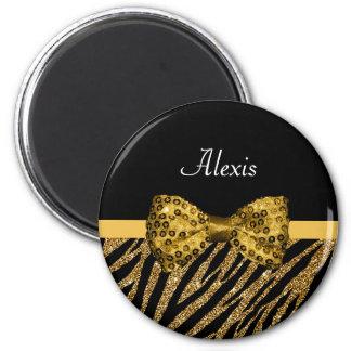 Classy Gold Zebra Print FAUX Glitz Bow With Name 2 Inch Round Magnet