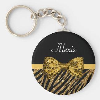Classy Gold Zebra Print FAUX Glitz Bow With Name Keychain