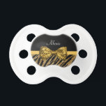 """Classy Gold Zebra Print FAUX Glitz Bow With Name Pacifier<br><div class=""""desc"""">Your baby girl will feel immersed in girly luxury with this chic designer gold and black glitter zebra print pacifier with a sequin sparkle ribbon tied into a luxe bow. Personalize this glitz and glam animal print fashion design by adding her name. Flat printed image, not actual glitter or ribbon....</div>"""