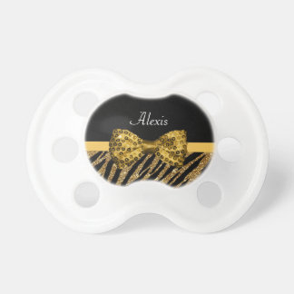 Classy Gold Zebra Print FAUX Glitz Bow With Name Pacifier