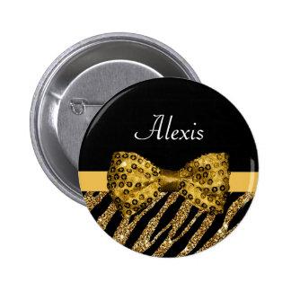 Classy Gold Zebra Print FAUX Glitz Bow With Name Pinback Button