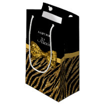 Classy Gold Zebra Print FAUX Glitz Bow With Name Small Gift Bag