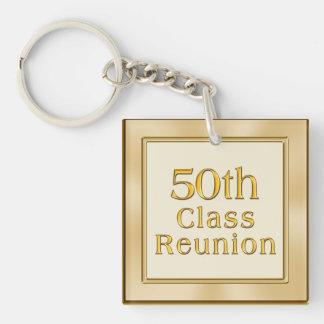 Classy Golden 50th Class Reunion Souvenirs Favors Keychain