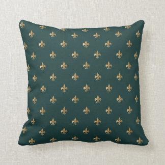 Classy golden like fleur de lis on dark sea green throw pillow
