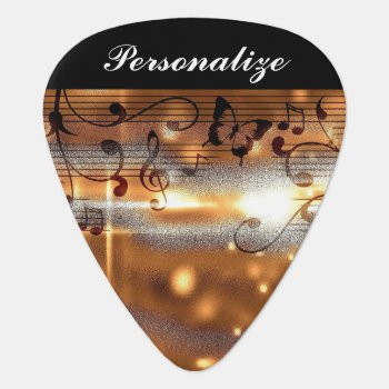 Classy Golden Musical Design Guitar Pick by DesignsbyDonnaSiggy at Zazzle