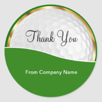 Classy Golf Theme Thank You Stickers