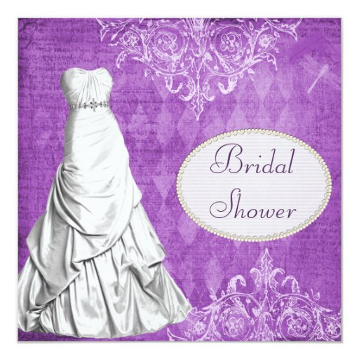 Classy Gown Vintage Shabby Chic Bridal Shower 5.25x5.25 Square Paper Invitation Card