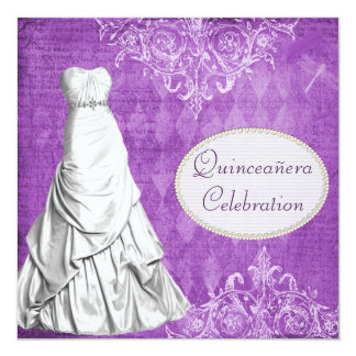 Classy Gown Vintage Shabby Chic Purple Quinceanera Card