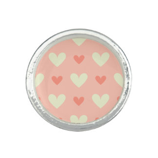 Classy Graceful Hearts - Love and Peace Pattern Photo Rings
