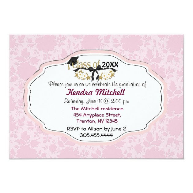 Classy Graduate - Customize 5x7 Paper Invitation Card (back side)